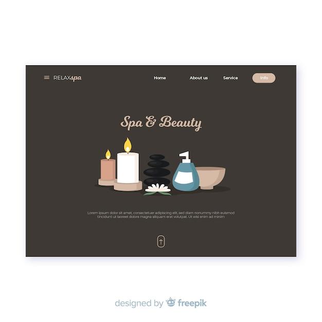 Modèle de page de destination pour spa avec des produits de beauté Vecteur gratuit
