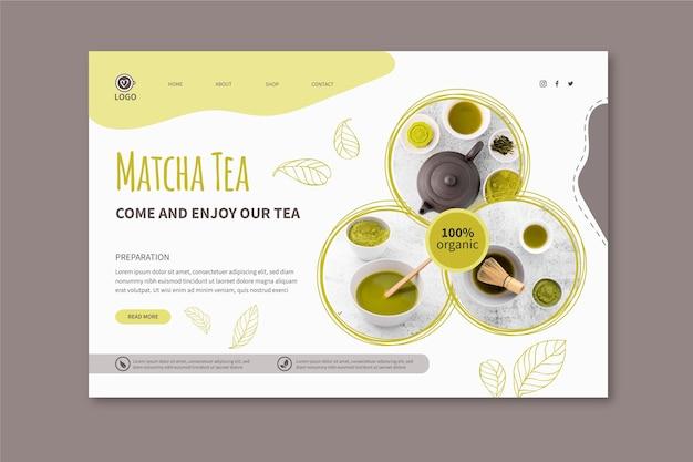 Modèle De Page De Destination Pour Le Thé Matcha Vecteur Premium
