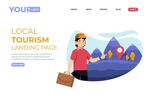 Modèle De Page De Destination Pour Le Tourisme Local Vecteur gratuit