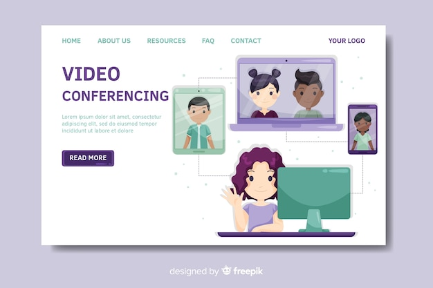 Modèle de page de destination pour vidéoconférence Vecteur gratuit