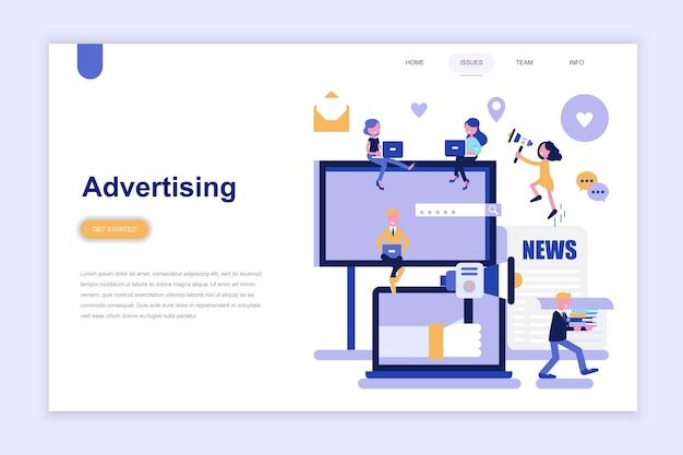Modèle de page de destination de la publicité Vecteur Premium