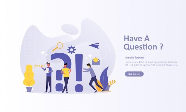 Modèle de page de destination de questions avec caractère Vecteur Premium