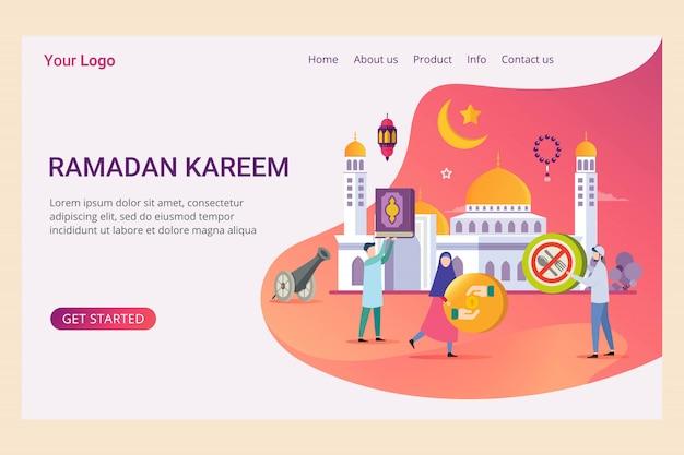 Modèle de page de destination ramadan kareem avec un petit peuple Vecteur Premium
