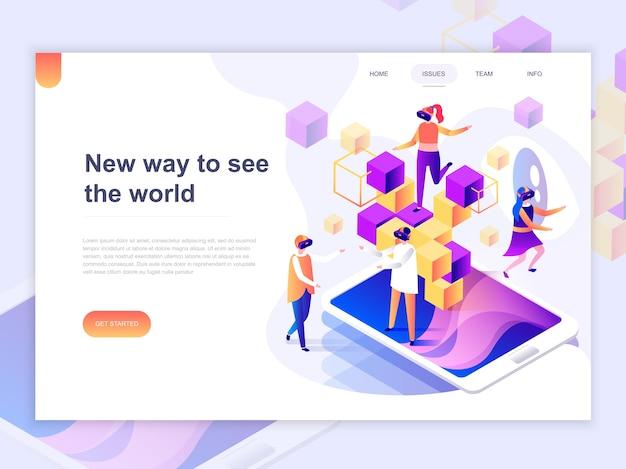 Modèle De Page De Destination De Réalité Augmentée Virtuelle. Vecteur Premium