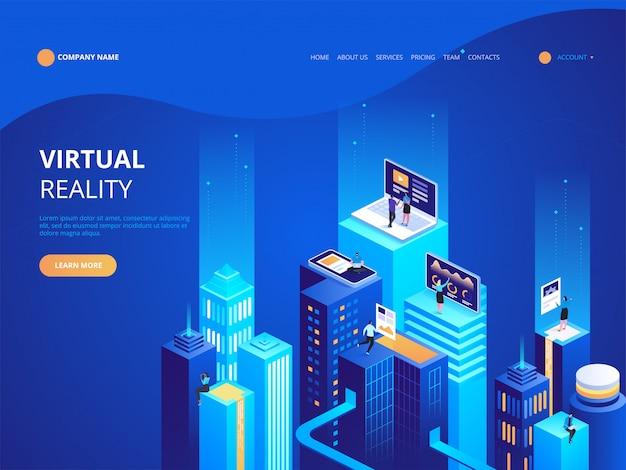 Modèle de page de destination de réalité virtuelle isométrique Vecteur Premium