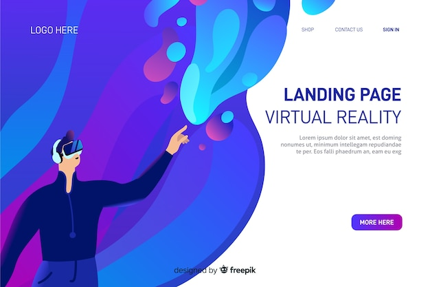 Modèle de page de destination de réalité virtuelle Vecteur gratuit