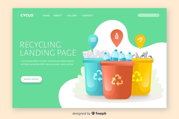 Modèle de page de destination de recyclage à plat Vecteur gratuit