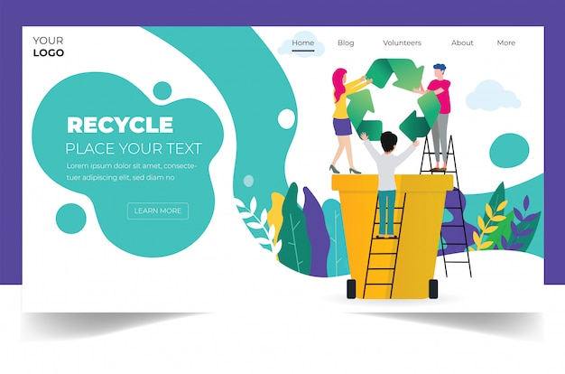 Modèle de page de destination de recyclage Vecteur Premium