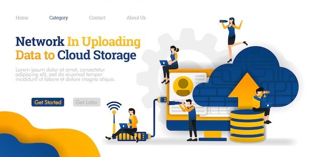 Modèle de page de destination. réseau dans le téléchargement de données vers le stockage en nuage. télécharger des données sur la base de données vers le cloud pour les partager Vecteur Premium