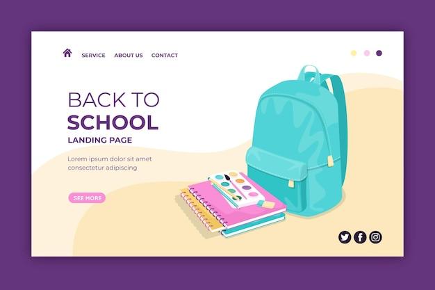 Modèle De Page De Destination De Retour à L'école Vecteur gratuit