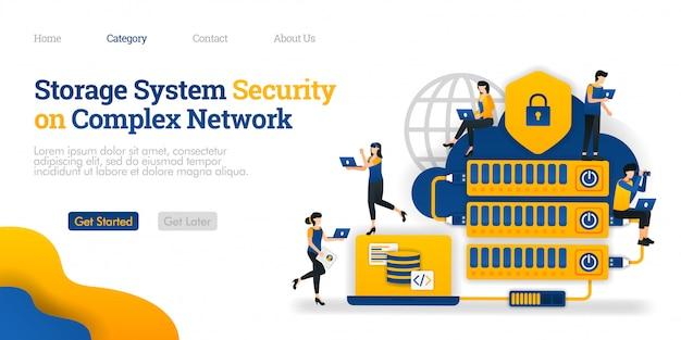 Modèle de page de destination. sécurité du système de stockage en réseau complexe. l'hébergement rendu compliqué pour la sécurité des données Vecteur Premium