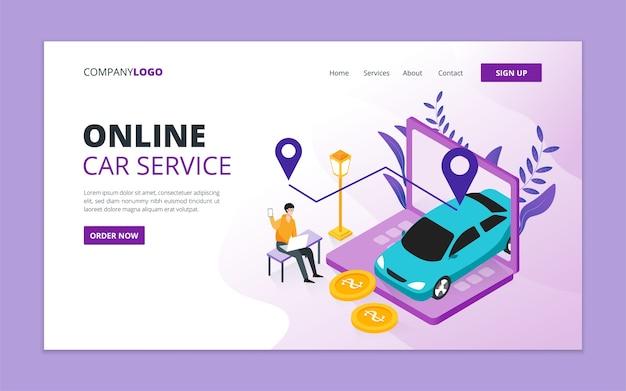 Modèle De Page De Destination De Service De Voiture En Ligne Vecteur Premium
