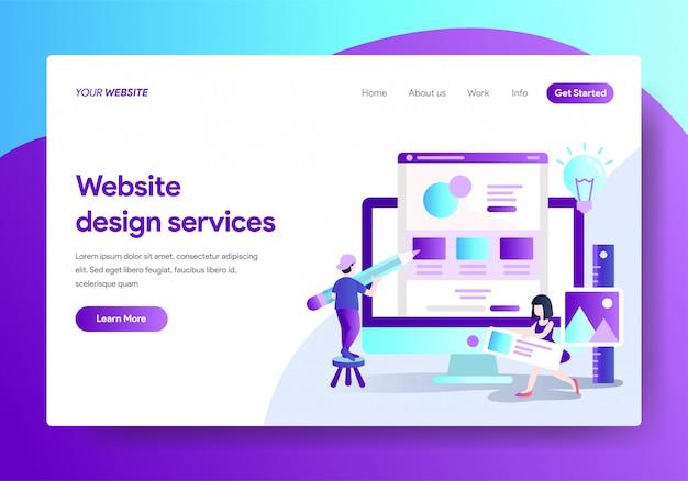 Modèle de page de destination des services de conception de sites web Vecteur Premium