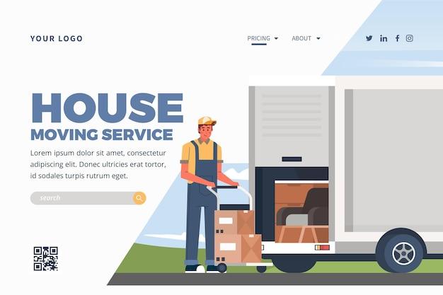 Modèle De Page De Destination Des Services De Déménagement De Maison Avec Camion Vecteur gratuit