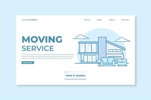 Modèle De Page De Destination Des Services De Déménagement De Maison Vecteur gratuit
