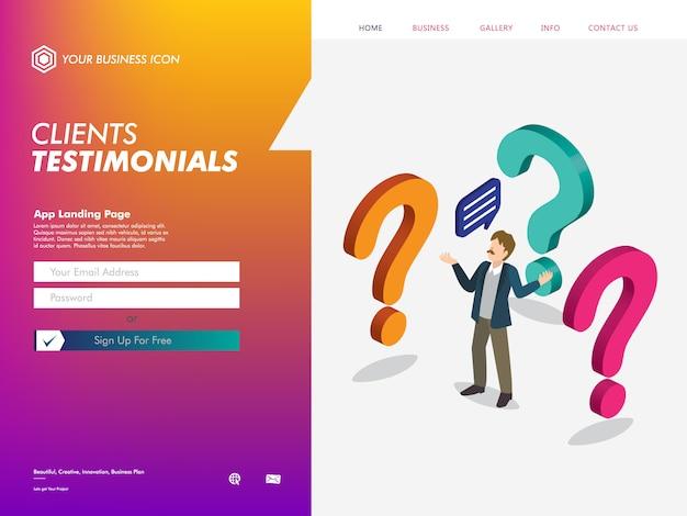 Modèle de page de destination de site web de témoignage de clients Vecteur Premium