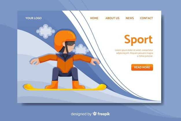 Modèle de page de destination sport plat Vecteur gratuit