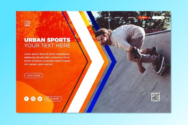 Modèle de page de destination sportive avec image Vecteur gratuit