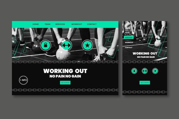 Modèle de page de destination sportive avec photo Vecteur gratuit