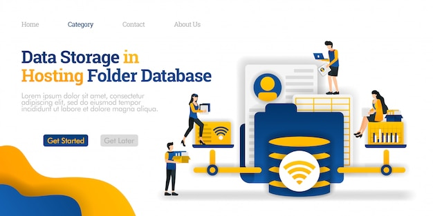 Modèle de page de destination. stockage des données dans le dossier de la base de données d'hébergement. ouvrir et modifier divers fichiers du dossier d'hébergement Vecteur Premium