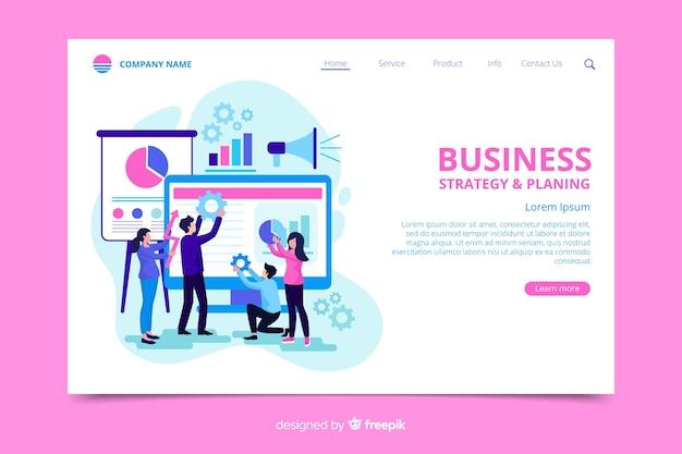 Modèle de page de destination de stratégie commerciale Vecteur gratuit