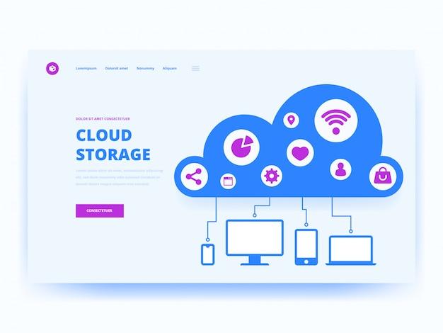 Modèle de page de destination de la technologie cloud Vecteur Premium