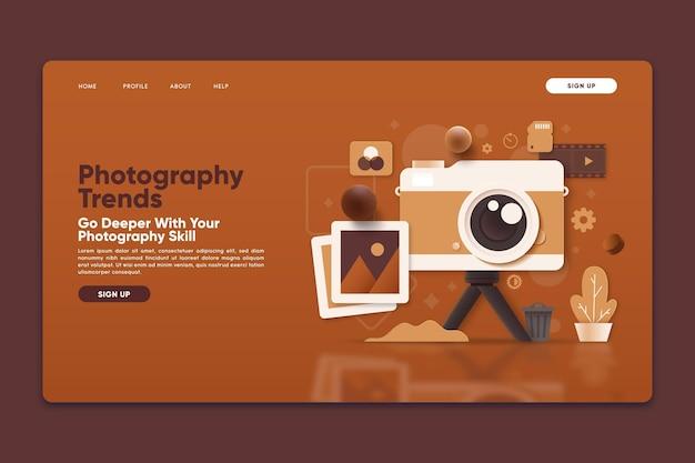 Modèle De Page De Destination Avec Les Tendances De La Photographie Vecteur gratuit