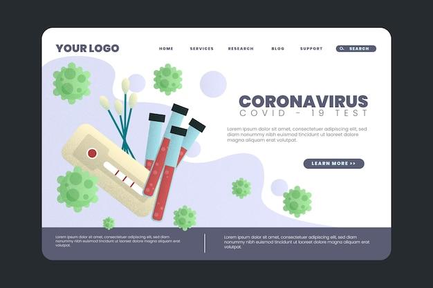 Modèle De Page De Destination De Test De Coronavirus Vecteur gratuit