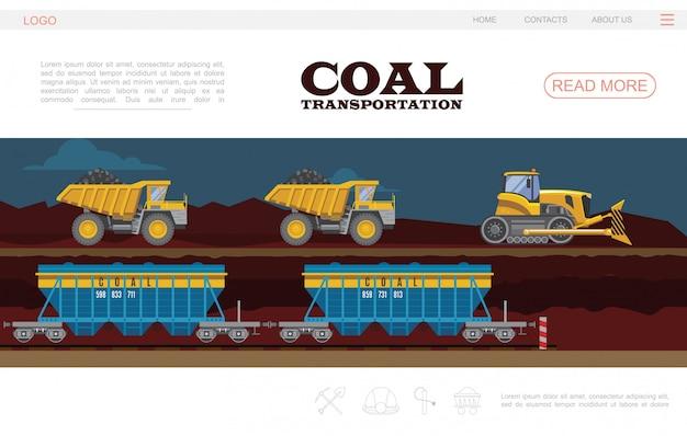 Modèle De Page De Destination De Transport De Charbon Plat Avec Camions à Benne Basculante Et Wagons Vecteur gratuit