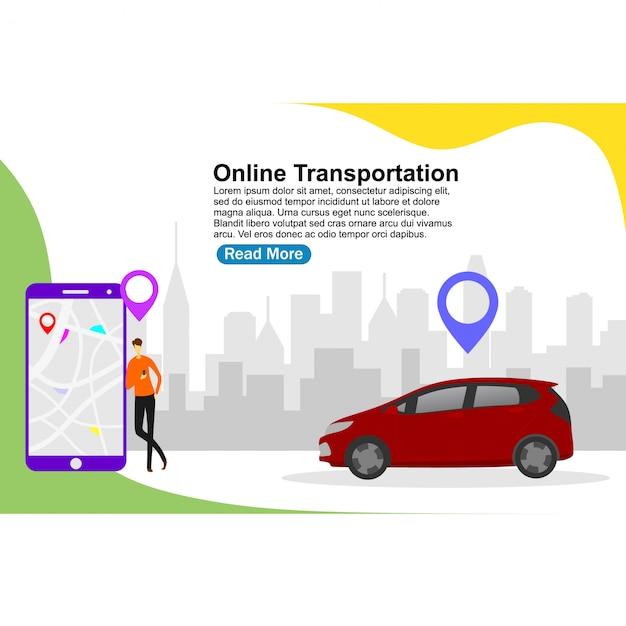 Modèle de page de destination transport en ligne Vecteur Premium