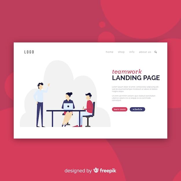 Modèle de page de destination de travail d'équipe Vecteur gratuit
