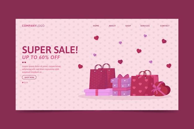 Modèle de page de destination de vente de la saint-valentin Vecteur gratuit