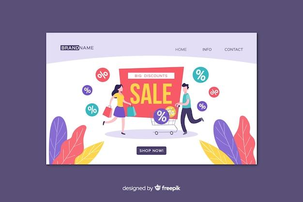 Modèle de page de destination de ventes à plat Vecteur gratuit