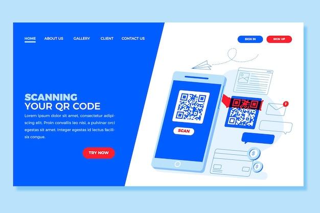 Modèle De Page De Destination De Vérification Du Code Qr Vecteur gratuit