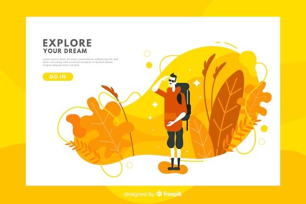 Modèle de page de destination de voyage abstrait Vecteur gratuit