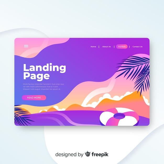 Modèle de page de destination de voyage, beau design Vecteur gratuit