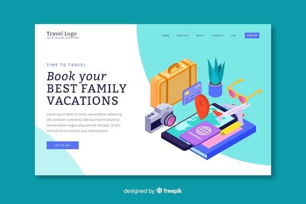 Modèle de page de destination de voyage isométrique Vecteur gratuit