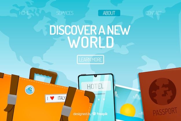 Modèle de page de destination de voyage à plat Vecteur gratuit