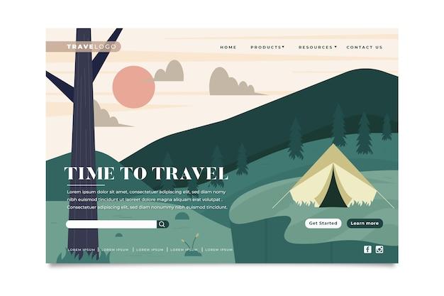 Modèle de page de destination de voyage Vecteur gratuit