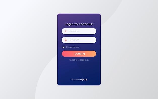 Modèle de page d'écran de connexion plat moderne Vecteur Premium