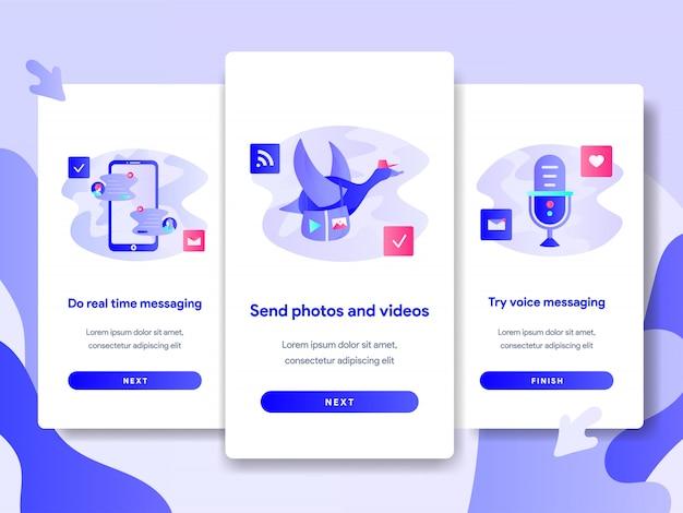 Modèle de page d'écran du didacticiel de l'application chat messaging Vecteur Premium