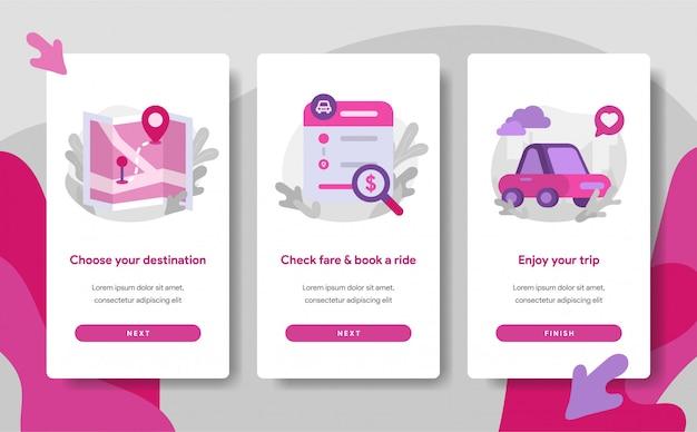 Modèle de page d'écran d'intégration de l'application de transport en ligne Vecteur Premium