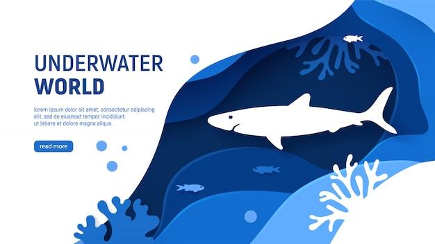 Modèle de page de papier coupé de la mer avec les récifs de requin, vagues, poissons et corail. Vecteur Premium