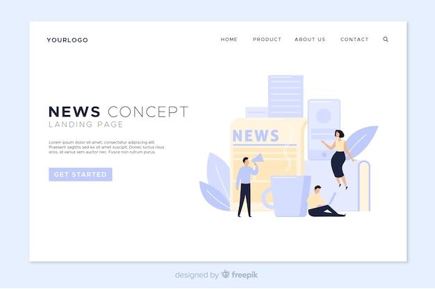 Modèle de page de renvoi d'actualités en ligne Vecteur gratuit