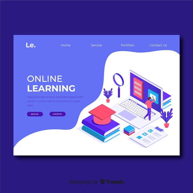 Modèle de page de renvoi d'apprentissage en ligne Vecteur gratuit