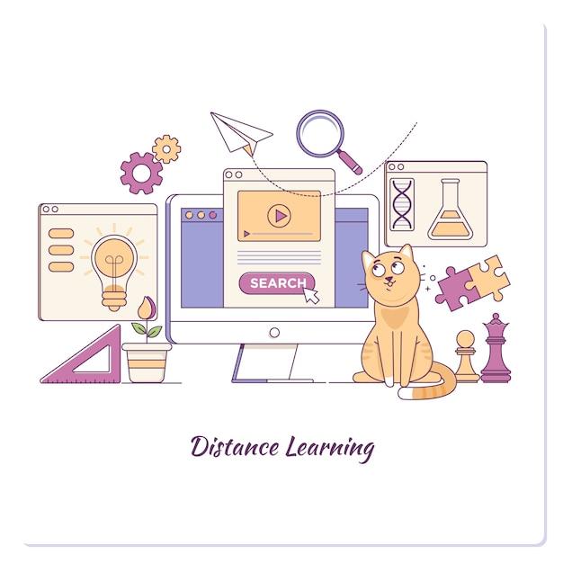 Modèle de page de renvoi du concept commercial en ligne learing bannière web de modèle d'éducation elearning Vecteur Premium