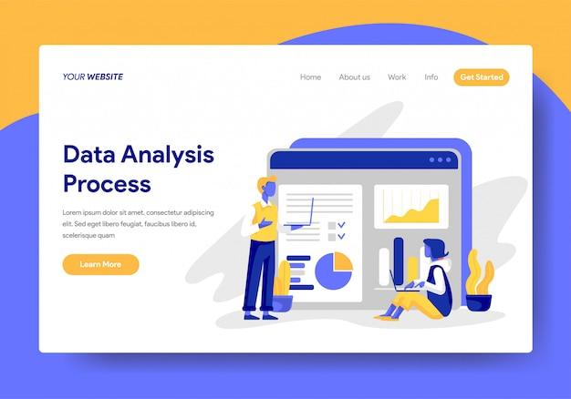 Modèle de page de renvoi du processus d'analyse des données Vecteur Premium