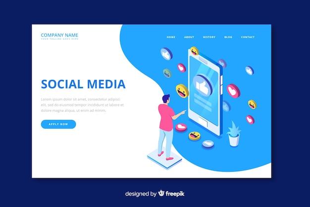 Modèle de page de renvoi isométrique sur les médias sociaux Vecteur gratuit