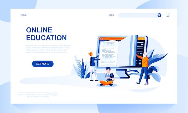 Modèle De Page De Renvoi Pour L'éducation En Ligne Avec En-tête Vecteur Premium