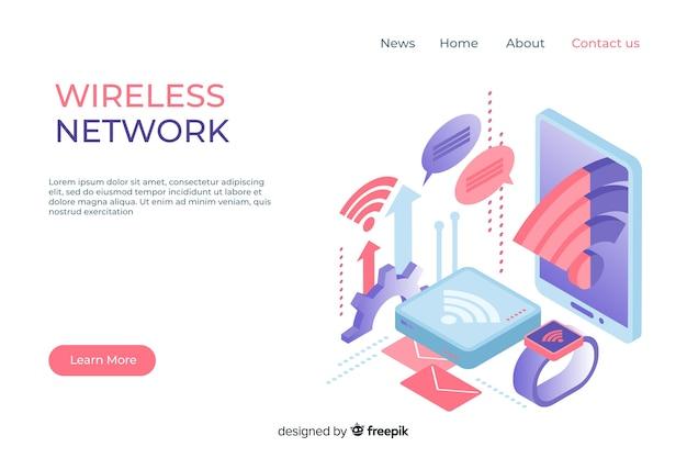 Modèle de page de renvoi de réseau sans fil Vecteur gratuit